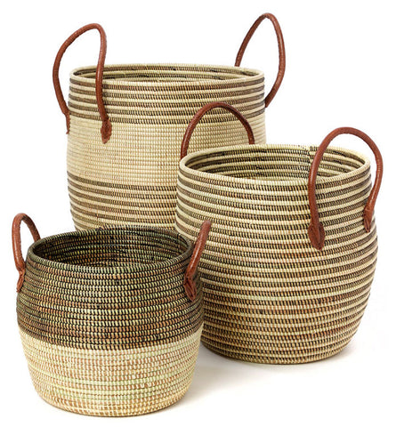 sen74g Brown & Beige Mixed Pattern Set of 3 Nesting Storage Baskets | Senegal Fair Trade by Swahili Imports