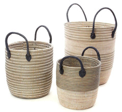 sen74u Silver & White Mixed Pattern Set of 3 Nesting Storage Baskets | Senegal Fair Trade by Swahili Imports