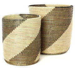sen79g Brown & Cream Swirl Set of 2 Open Nesting Storage Baskets | Senegal Fair Trade by Swahili Imports
