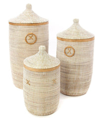 sen80c White Set of 3 Traditional Hamper Storage Baskets with Tan Leather Trim | Senegal Fair Trade by Swahili Imports