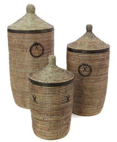 sen80g Black Set of 3 Traditional Hamper Storage Baskets with Black Leather Trim | Senegal Fair Trade by Swahili Imports