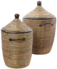 sen81g Black Set of 2 Traditional Hamper Storage Baskets with Leather Trim | Senegal Fair Trade by Swahili Imports