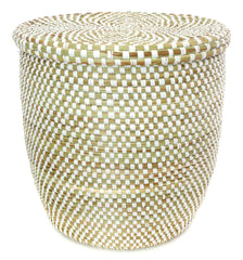 sen84c White Checkerboard Medium Peace Corps Lidded Hamper Basket | Senegal Fair Trade by Swahili Imports