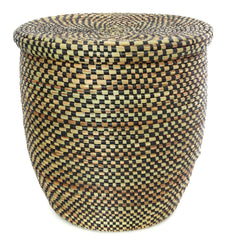 sen84g Black Checkerboard Medium Peace Corps Lidded Hamper Basket | Senegal Fair Trade by Swahili Imports