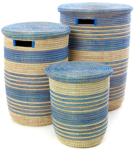 sen99e Blue & Cream Stripe Set of 3 Ebb & Flow Nesting Storage Baskets | Senegal Fair Trade by Swahili Imports