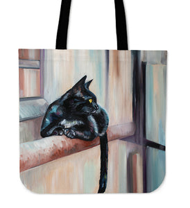 Cat On Ledge Canvas Tote Bag