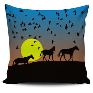 Sunset Horses Pillow Cover