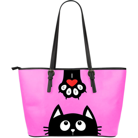 Pink Cat Small Leather Tote