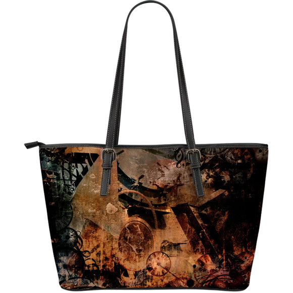 Steampunk Art Large Leather Tote