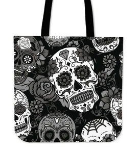 Skull With Roses Tote Bag