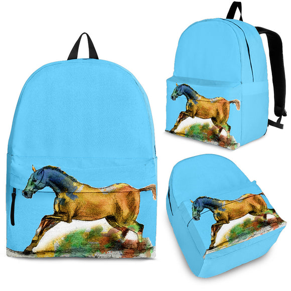 Blue Running Horse Backpack