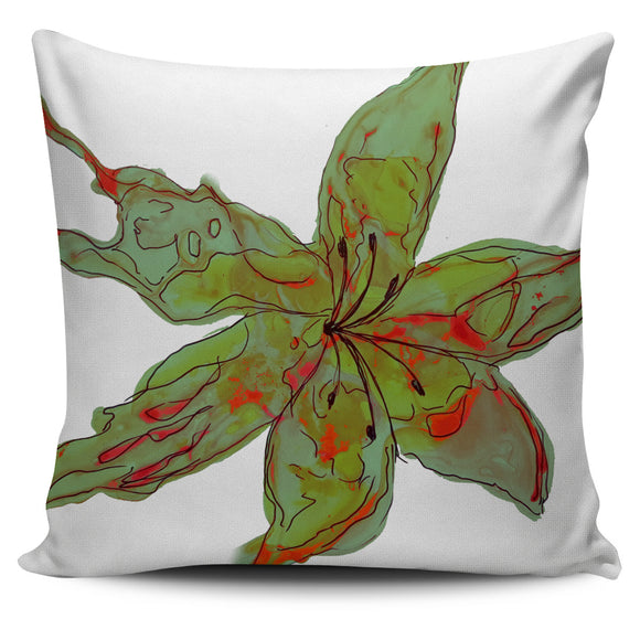 Sunset Lily Throw Pillow Cover - Green/Red