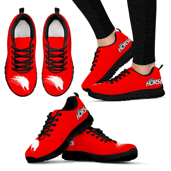 Horse Women's Sneakers-Red