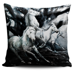 Black and White Horse Pillow Cover