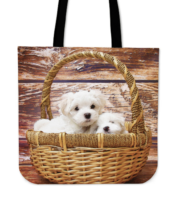 Tote Bag Puppies In Basket