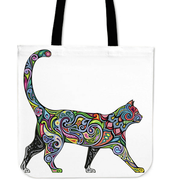 Floral Cat Canvas Tote Bag