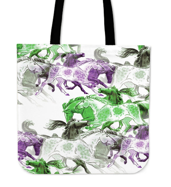 Colored Horses Tote Bag