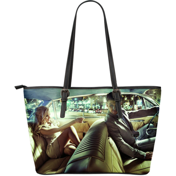 Taxi Ride Large Leather Handbag