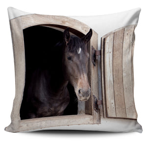 Black Horse on the Farm Pillow Cover