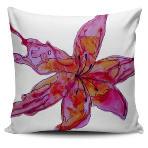 Sunset Lily Throw Pillow Cover - Fuchsia