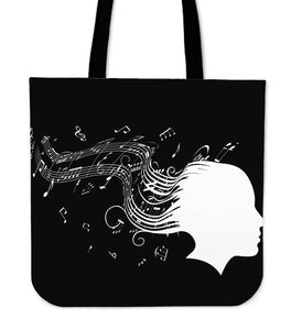 Woman Black background tote bag