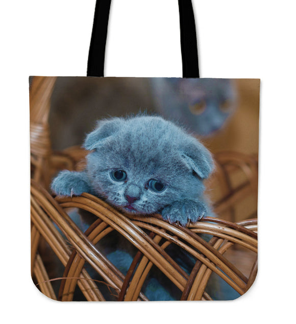 Tote Bag Blue Russian Kitten Watercolor