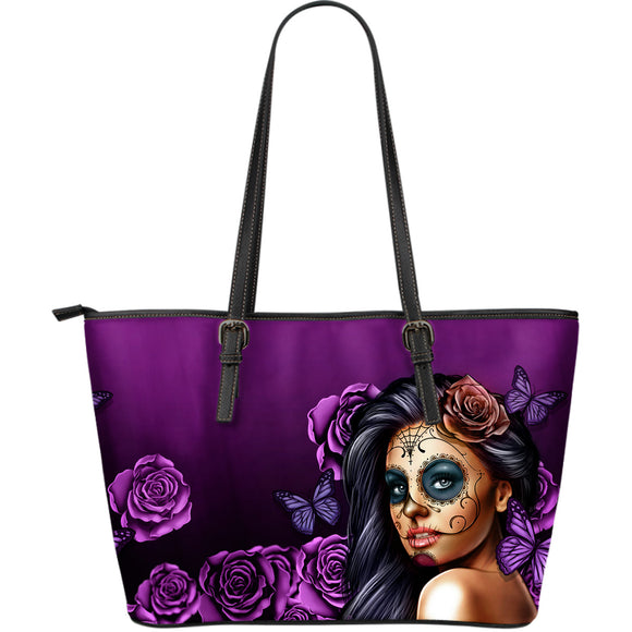 Large Leather Tote Calavera (Violet)