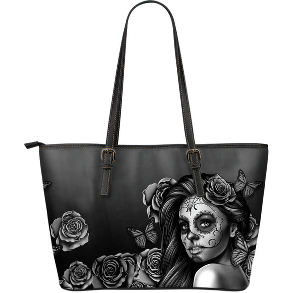 Large Leather Tote Calavera (Gray)
