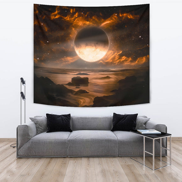 Fantasy Alien Planet with Flaming Moon Tapestry