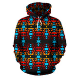 Black Fire and Turquoise II Sokapi Hoodie