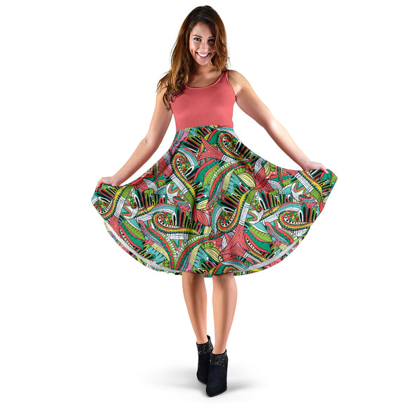 Funky Patterns in Greens 2 Tone - Women's Midi Dress