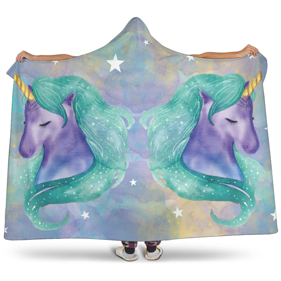 Watercolor Unicorns Hooded Blanket