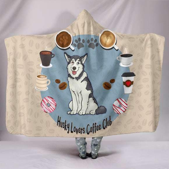 Husky Lovers Coffee Club Hooded Blanket