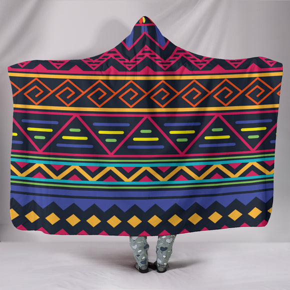 Red and Blue Tribal Pattern Hooded Blanket