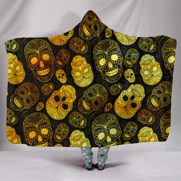 3D Skull Art Hooded Blanket 002