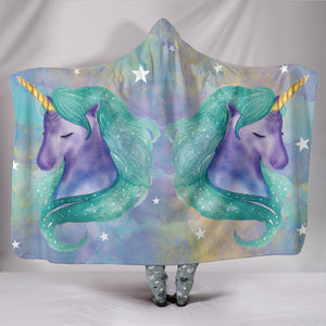 Unicorn Watercolor Hooded Blanket