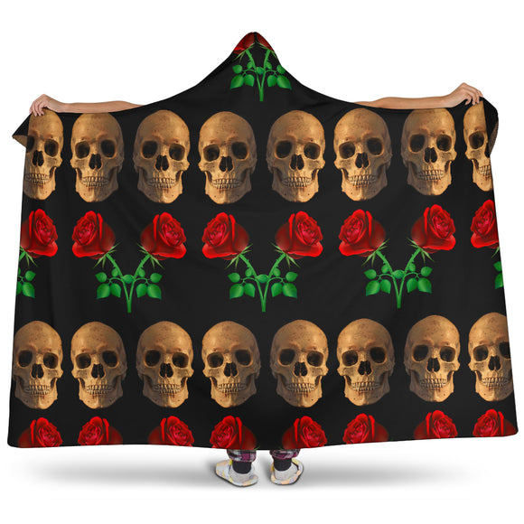 Roses and Skulls Hooded Blanket