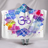 Watercolor Om Hooded Blanket