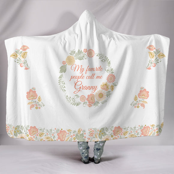 Granny Favorite People Hooded Blanket - Peach