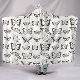 Sepia Butterflies Hooded Blanket