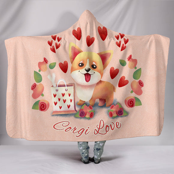 Corgi Love Hooded Blanket for Lovers of Corgis