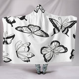 Customised Hoodie Blanket Black Butterflies