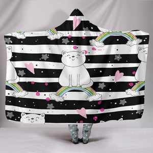 Customised Hoodie Blanket Balck and White Kitten