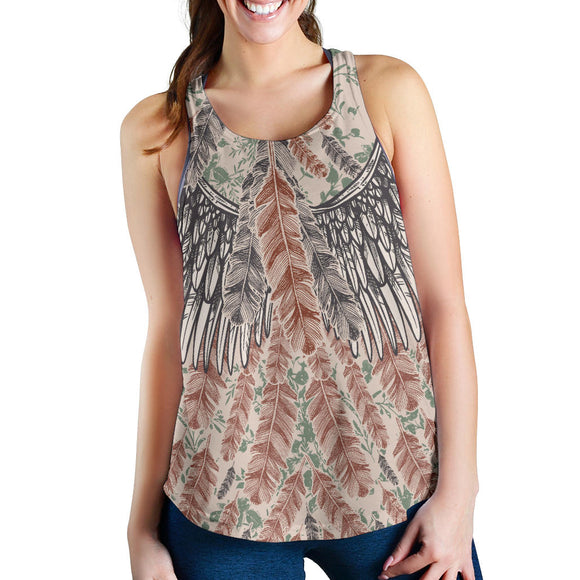 Artistic Vintage Feather Tank tops