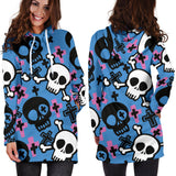 Women`s Hoodie Dress Skull And CrossBones | Premium Ladies Hoodie Dress