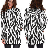 Black and White Animal Pattern Hoodie Dress