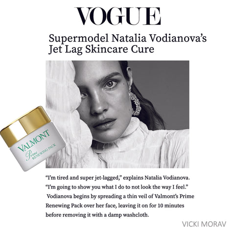 Supermodel Natalia Vodianova Jet Lag Cure - Valmont Prime Renewing Pack