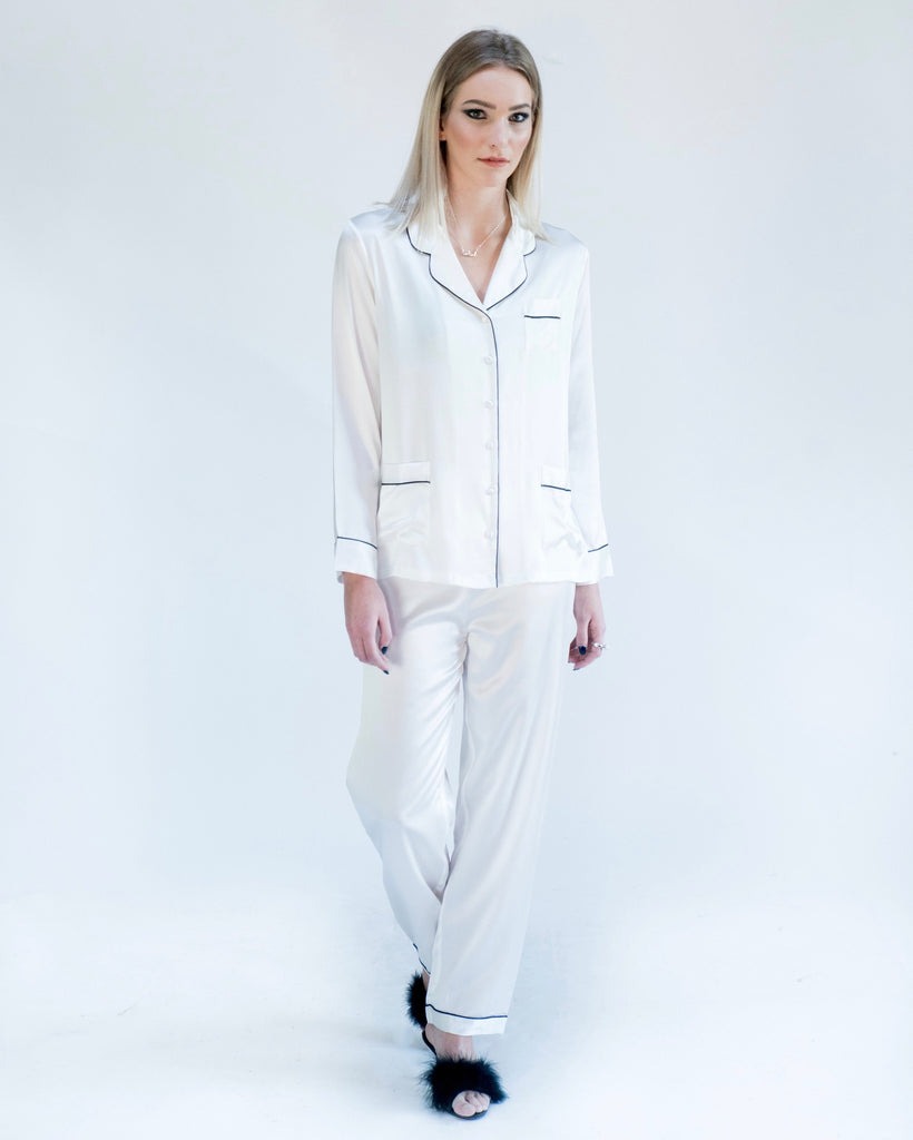 Frosted Pearl Camellia Silk Pajamas