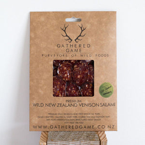 Gathered Game Wild Venison Salami - Garlic Pepper 100g Sliced pack