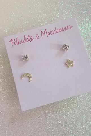 P&M Double Star Moon Studs